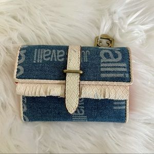 JUST CAVALLI small Denim & Leather Wallet with Orange Lining